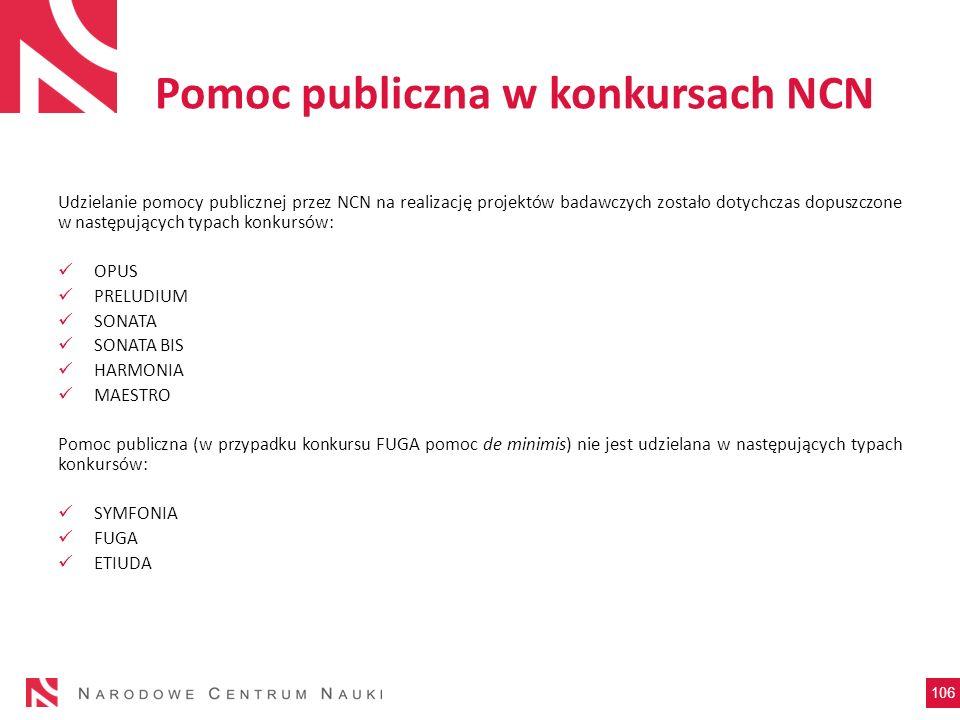 Pomoc publiczna w konkursach NCN