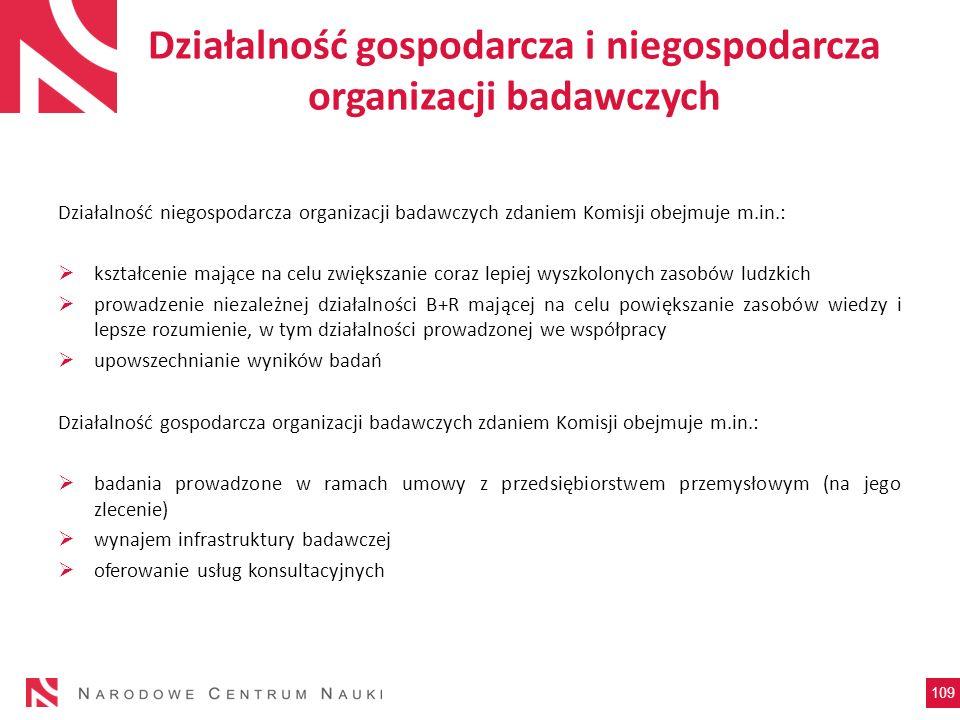 Działalność gospodarcza i niegospodarcza organizacji badawczych