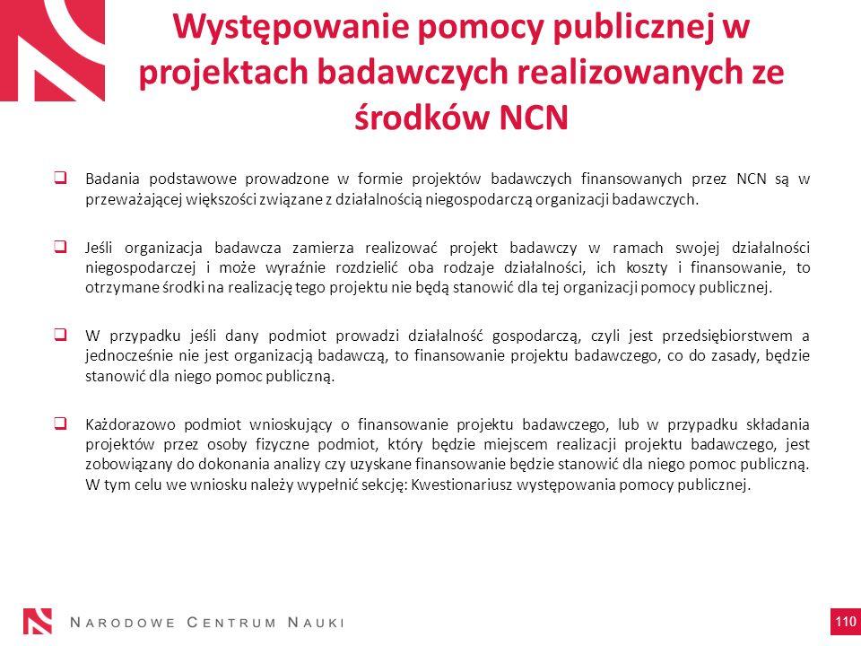 Występowanie pomocy publicznej w projektach badawczych realizowanych ze środków NCN