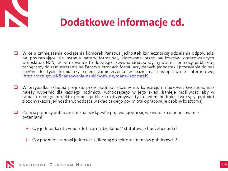Dodatkowe informacje cd.
