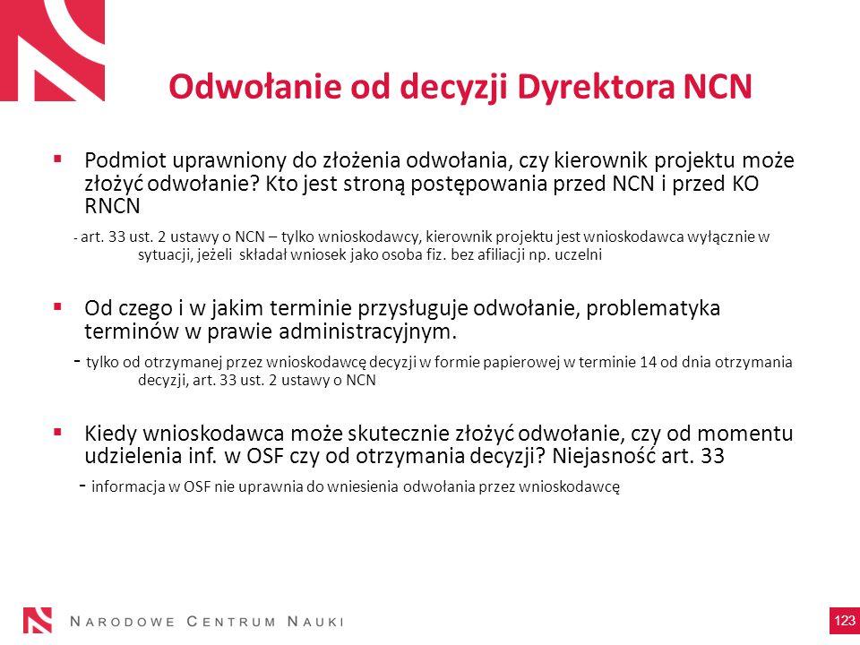 Odwołanie od decyzji Dyrektora NCN