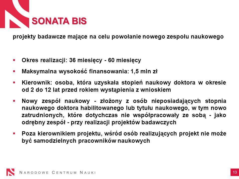 SONATA BISprojekty badawcze mające na celu powołanie nowego zespołu naukowego. Okres realizacji: 36 miesięcy - 60 miesięcy.