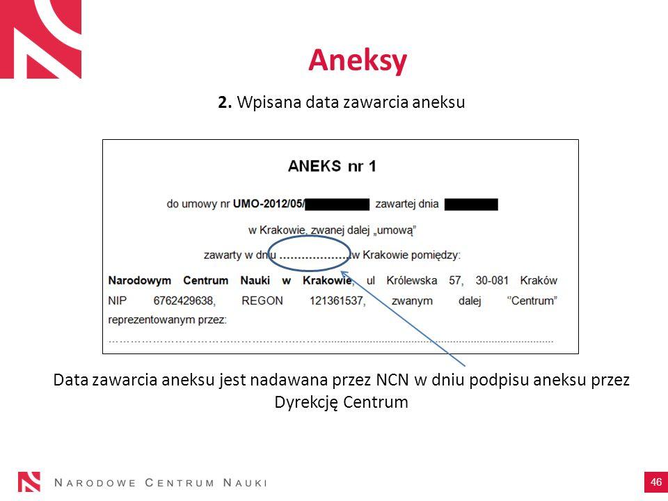 2. Wpisana data zawarcia aneksu