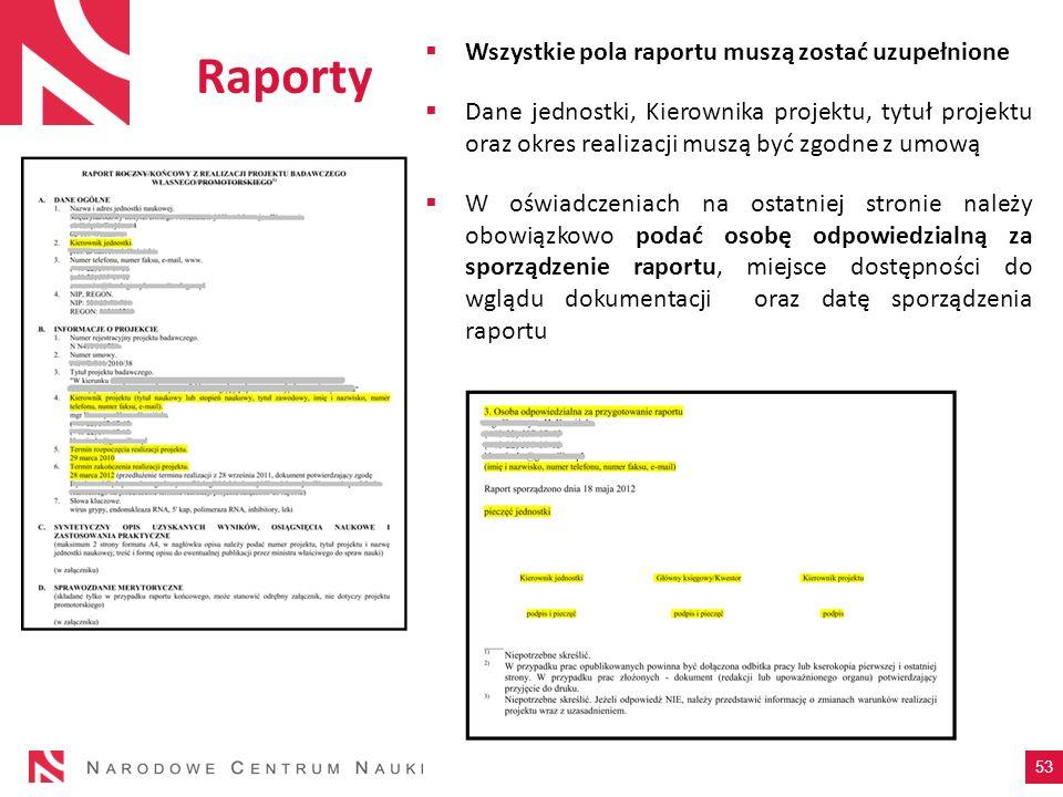 Raporty Wszystkie pola raportu muszą zostać uzupełnione