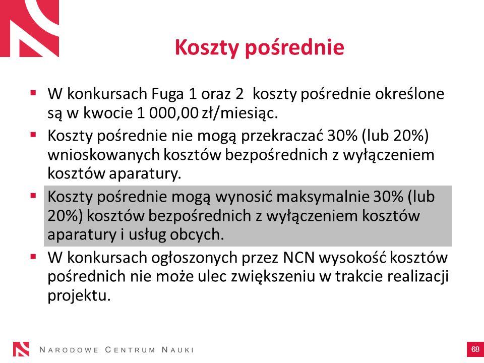 Koszty pośrednieW konkursach Fuga 1 oraz 2 koszty pośrednie określone są w kwocie 1 000,00 zł/miesiąc.