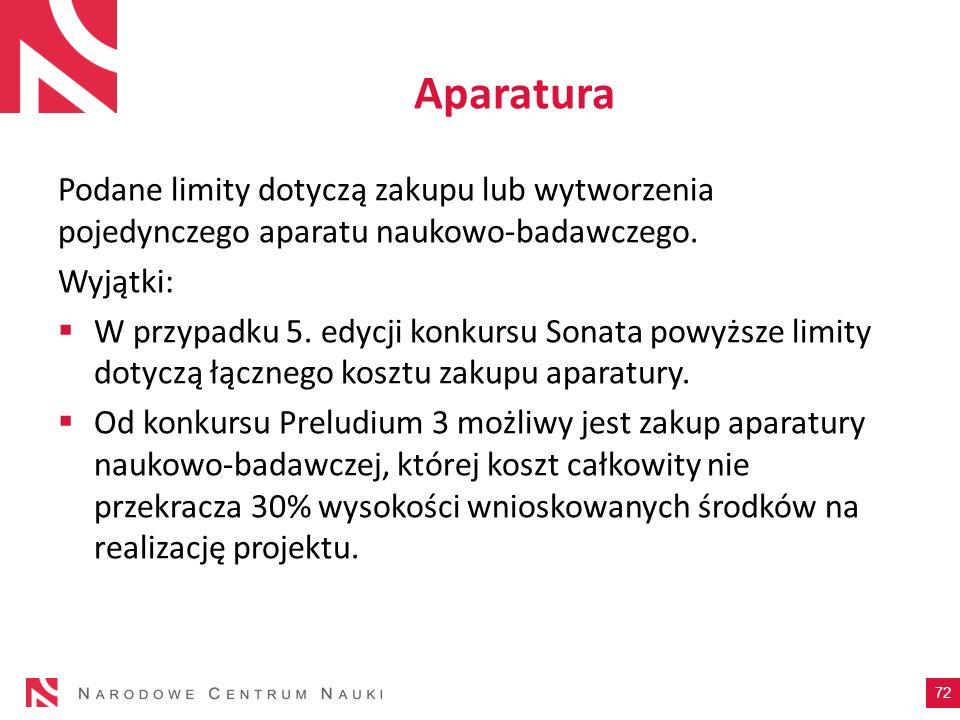 AparaturaPodane limity dotyczą zakupu lub wytworzenia pojedynczego aparatu naukowo-badawczego. Wyjątki: