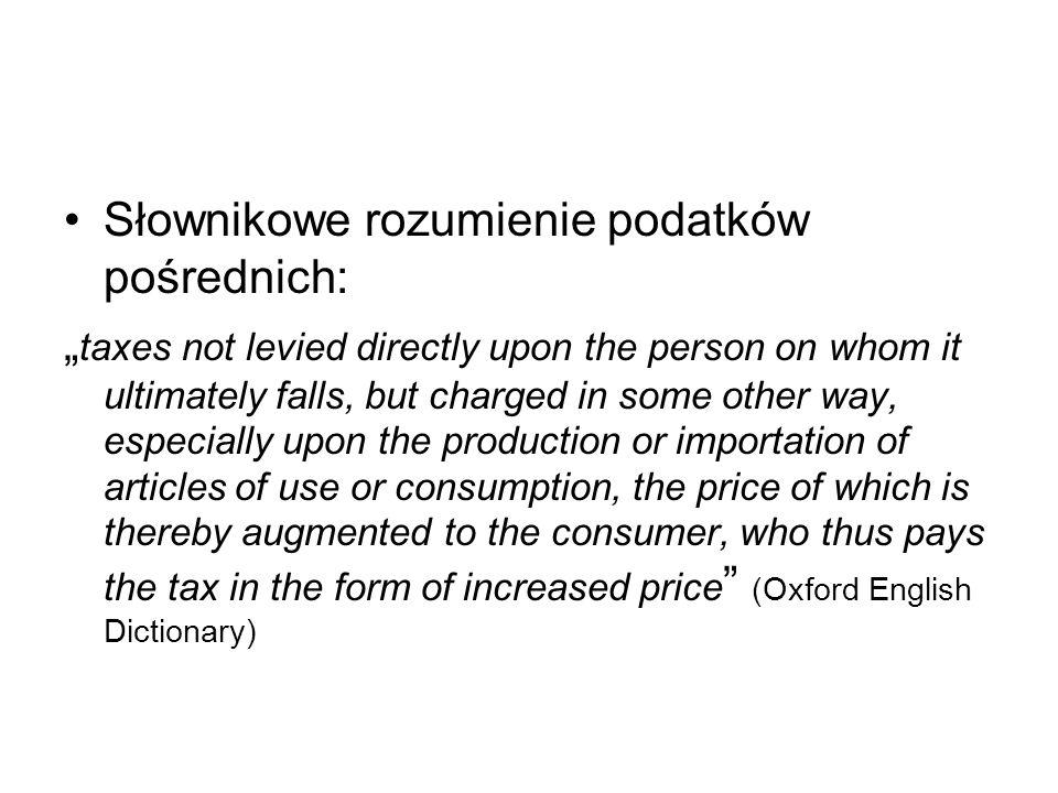 Słownikowe rozumienie podatków pośrednich: