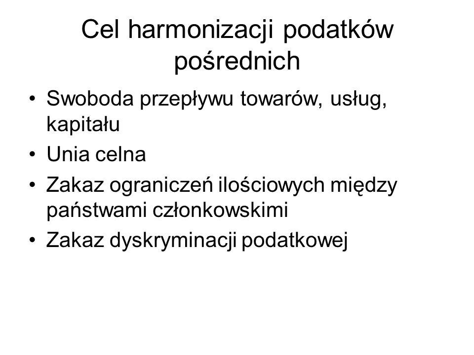Cel harmonizacji podatków pośrednich