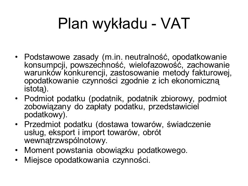 Plan wykładu - VAT