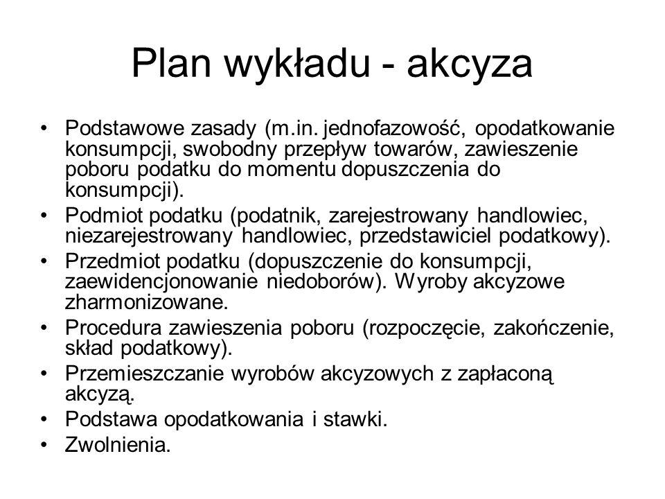 Plan wykładu - akcyza