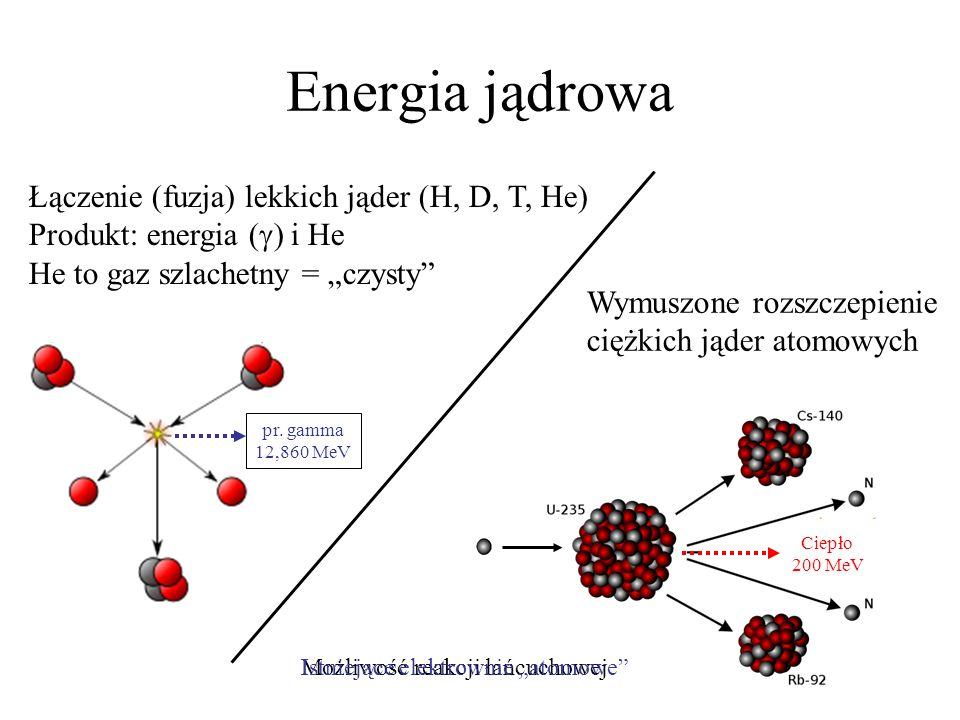 """pr. gamma 12,860 MeVEnergia jądrowa. Łączenie (fuzja) lekkich jąder (H, D, T, He) Produkt: energia (g) i He He to gaz szlachetny = """"czysty"""