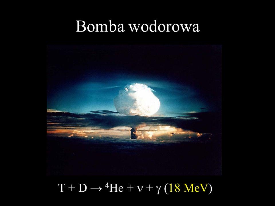 Bomba wodorowa T + D → 4He + n + g (18 MeV)