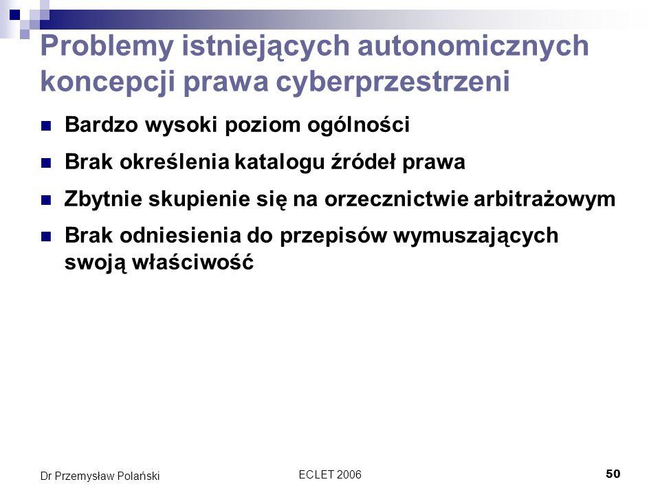 Problemy istniejących autonomicznych koncepcji prawa cyberprzestrzeni