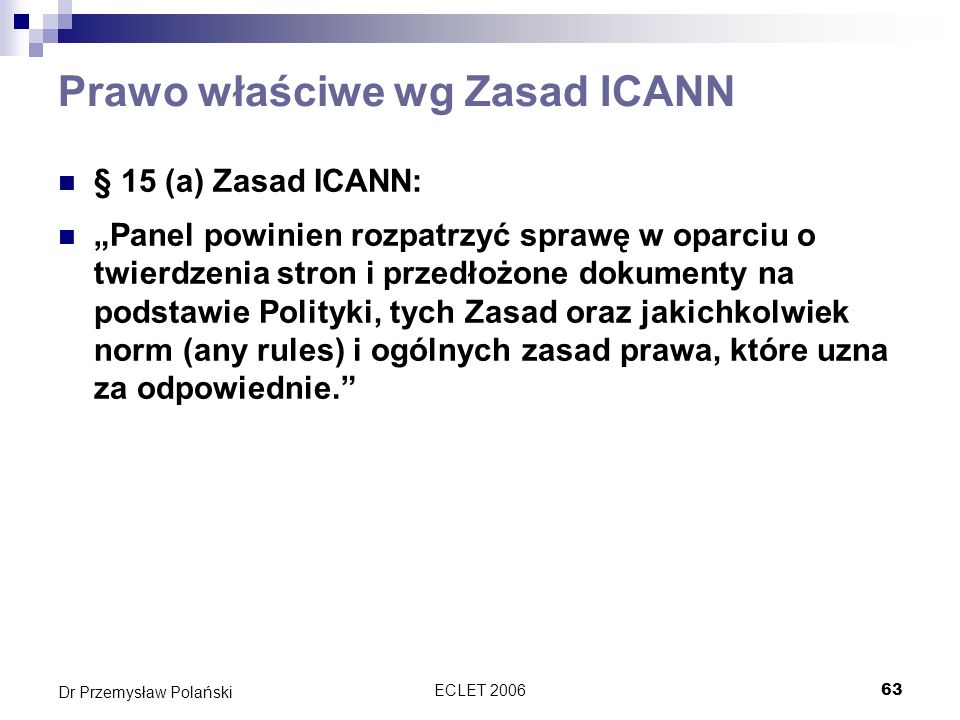 Prawo właściwe wg Zasad ICANN