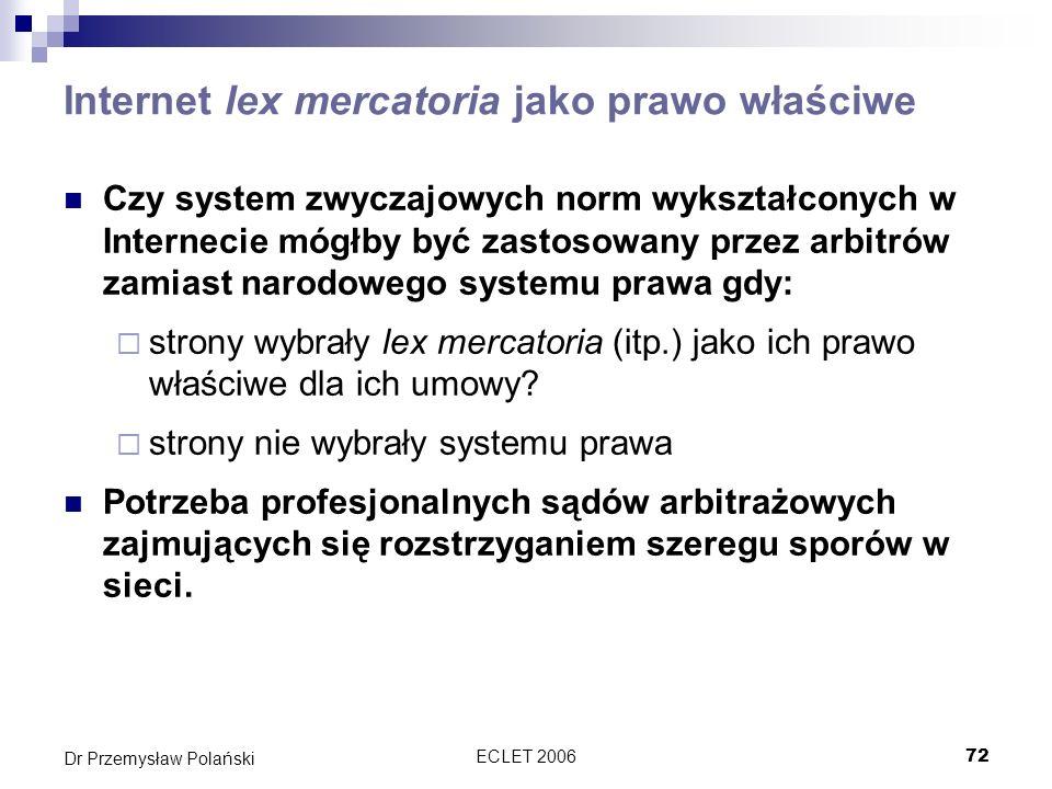 Internet lex mercatoria jako prawo właściwe