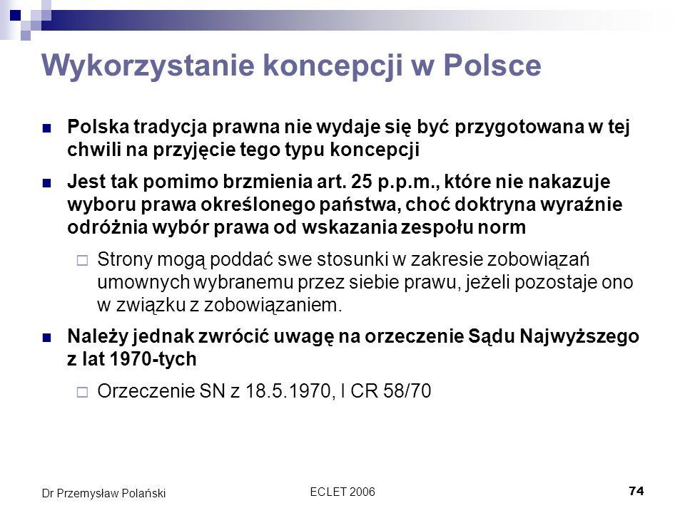 Wykorzystanie koncepcji w Polsce