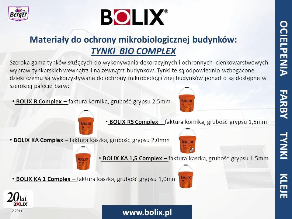 Materiały do ochrony mikrobiologicznej budynków: TYNKI BIO COMPLEX