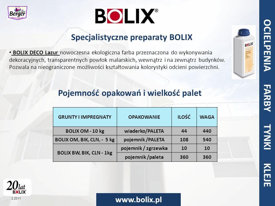Specjalistyczne preparaty BOLIX Pojemność opakowań i wielkość palet