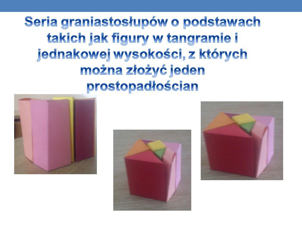 Seria graniastosłupów o podstawach takich jak figury w tangramie i jednakowej wysokości, z których można złożyć jeden prostopadłościan