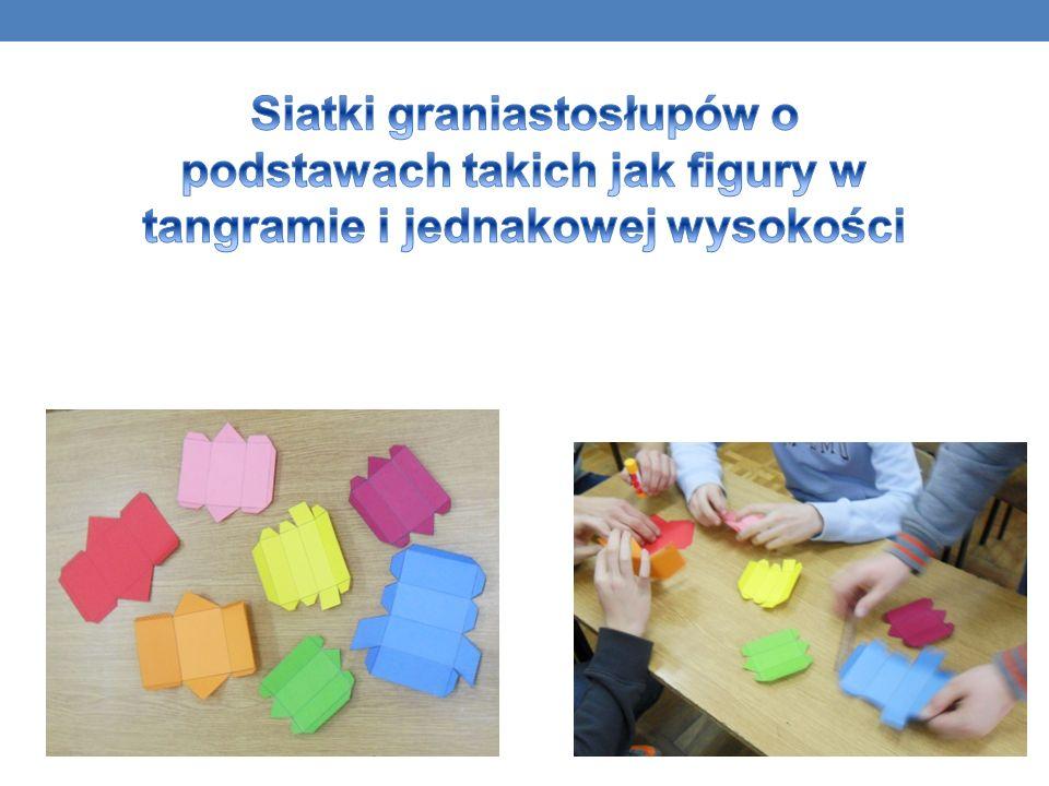 Siatki graniastosłupów o podstawach takich jak figury w tangramie i jednakowej wysokości