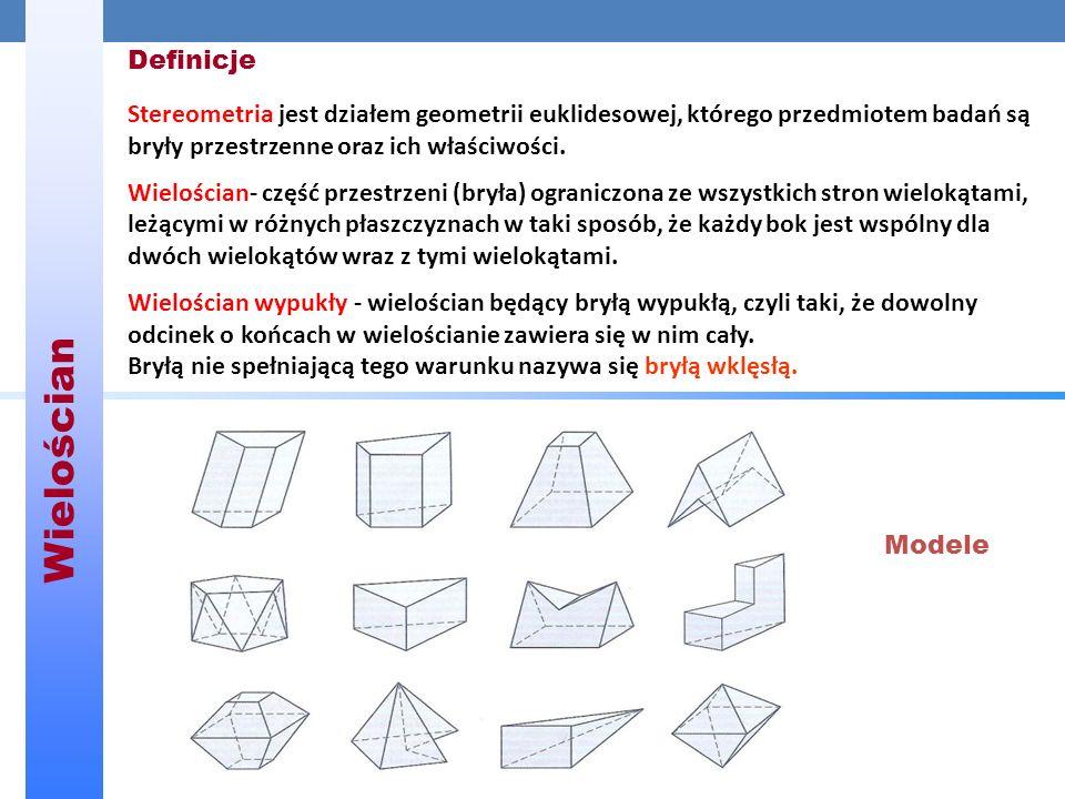 Wielościan Definicje. Stereometria jest działem geometrii euklidesowej, którego przedmiotem badań są bryły przestrzenne oraz ich właściwości.