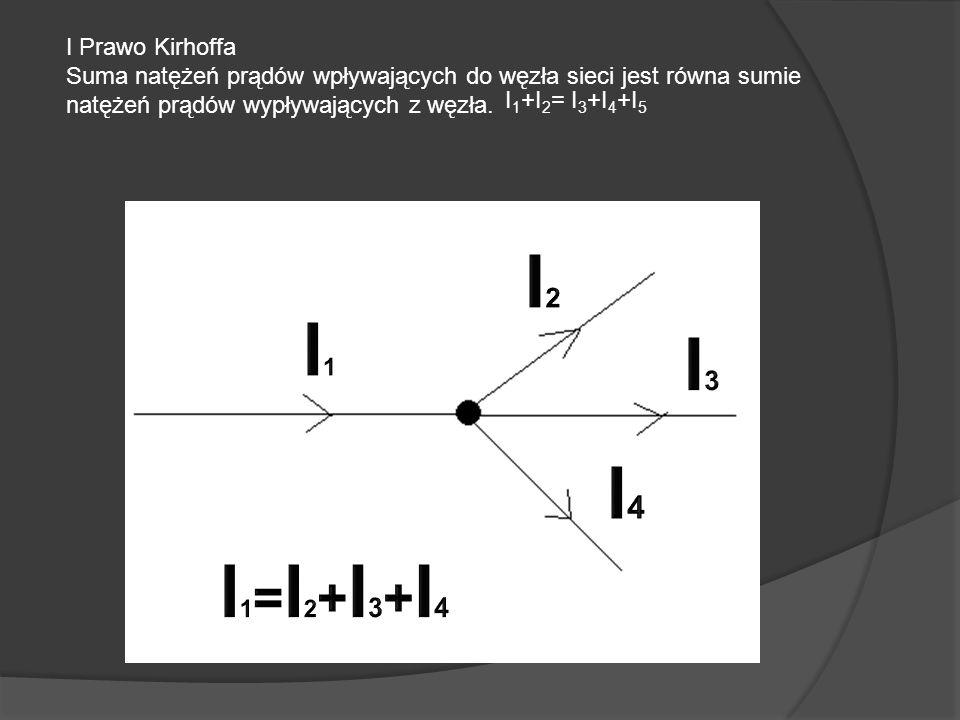 I2 I1 I3 I4 I1=I2+I3+I4 I Prawo Kirhoffa