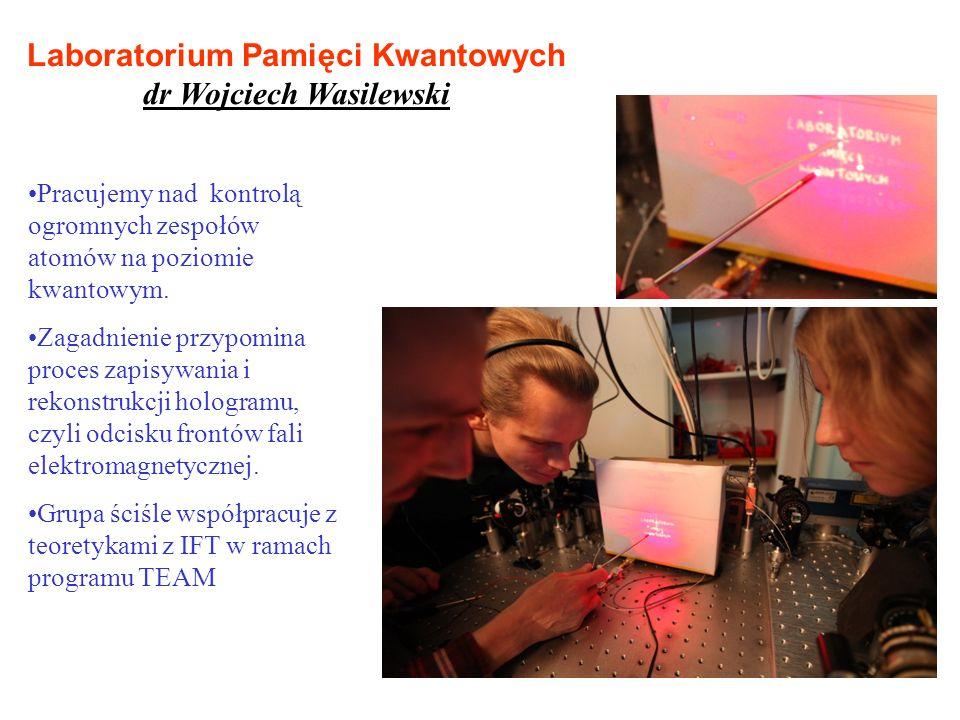Laboratorium Pamięci Kwantowych dr Wojciech Wasilewski