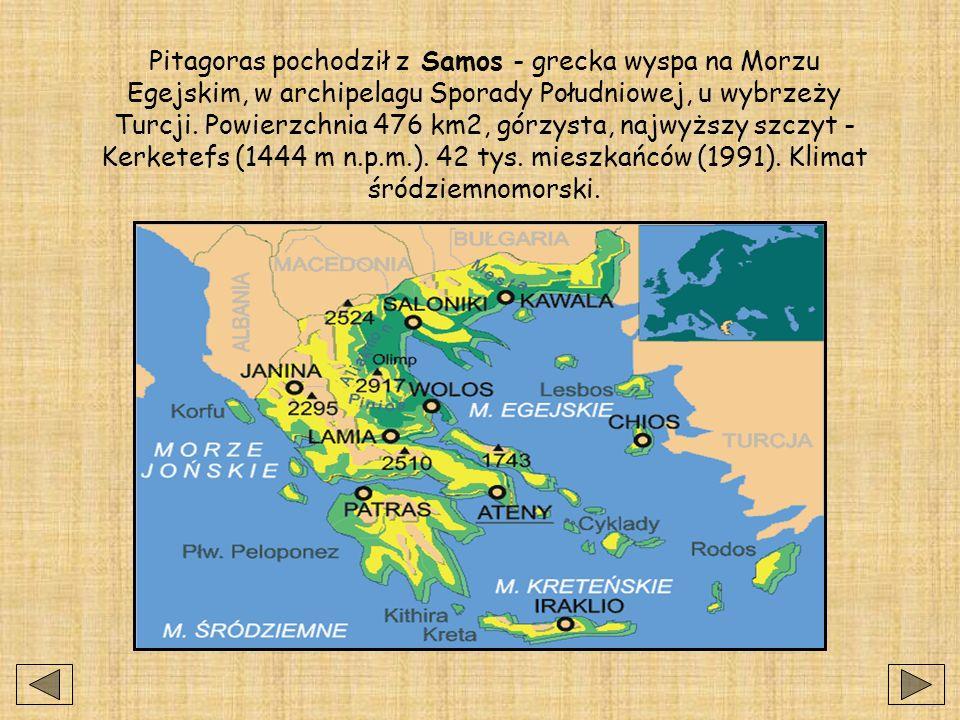 Pitagoras pochodził z Samos - grecka wyspa na Morzu Egejskim, w archipelagu Sporady Południowej, u wybrzeży Turcji. Powierzchnia 476 km2, górzysta, najwyższy szczyt - Kerketefs (1444 m n.p.m.). 42 tys. mieszkańców (1991). Klimat śródziemnomorski.