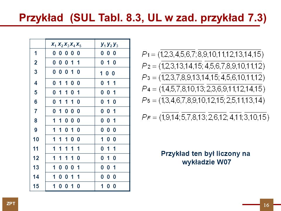 Przykład (SUL Tabl. 8.3, UL w zad. przykład 7.3)