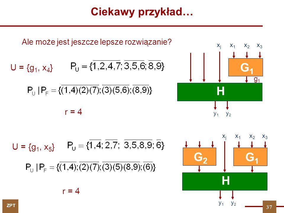 G1 H G2 G1 H Ciekawy przykład… U = {g1, x4} r = 4 U = {g1, x5} r = 4