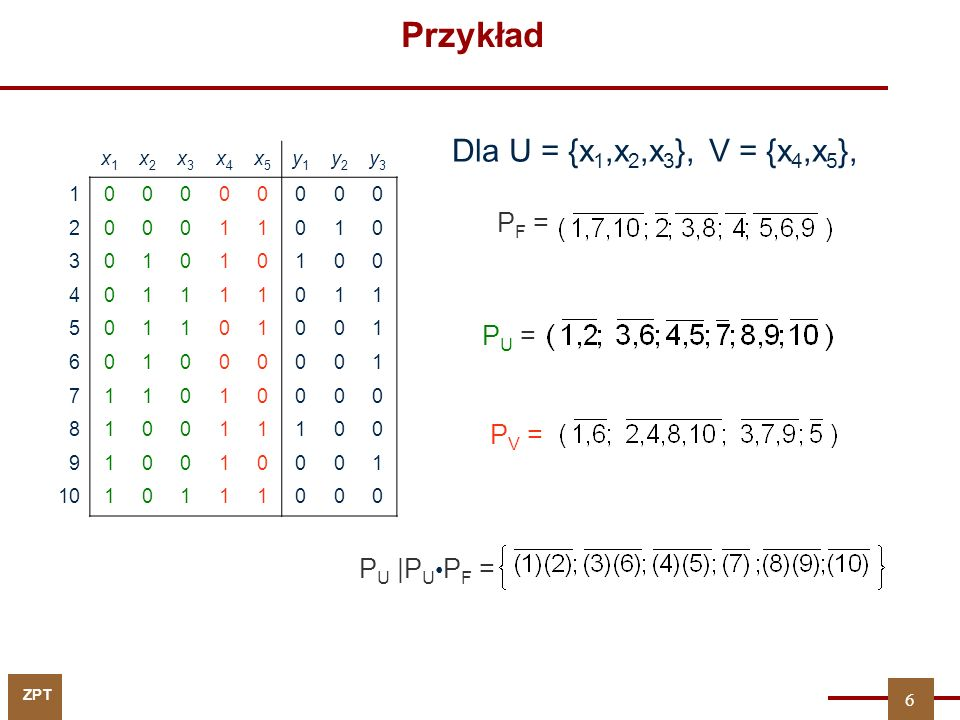Przykład Dla U = {x1,x2,x3}, V = {x4,x5}, PF = PU = PV = PU |PU•PF =