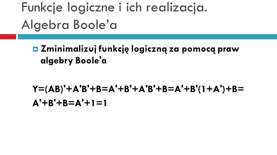 Funkcje logiczne i ich realizacja. Algebra Boole'a