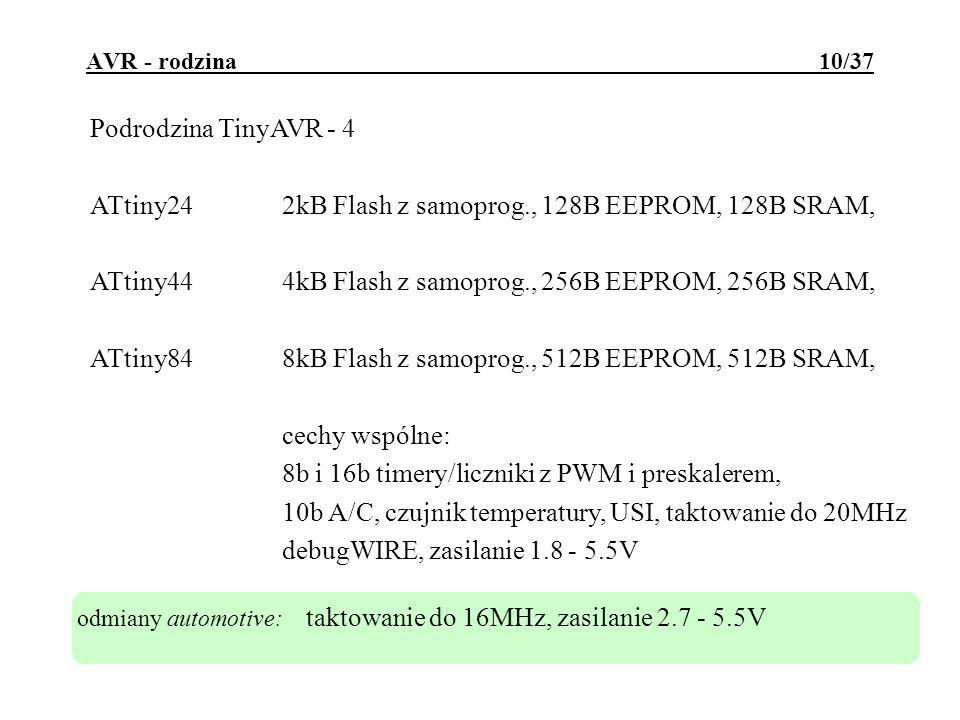 ATtiny24 2kB Flash z samoprog., 128B EEPROM, 128B SRAM,