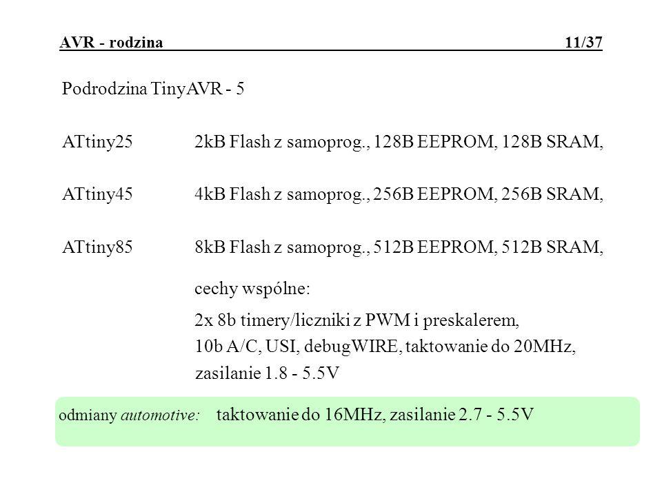 ATtiny25 2kB Flash z samoprog., 128B EEPROM, 128B SRAM,