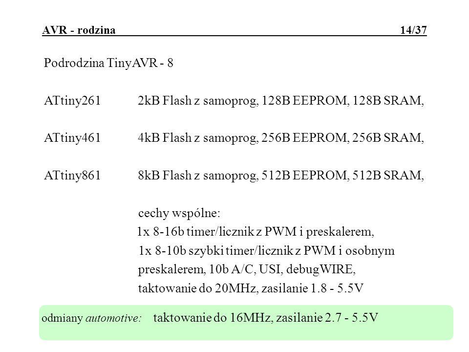 ATtiny261 2kB Flash z samoprog, 128B EEPROM, 128B SRAM,