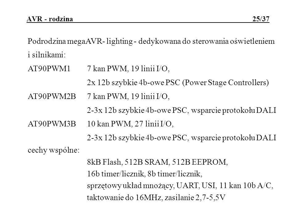 cechy wspólne: 8kB Flash, 512B SRAM, 512B EEPROM,