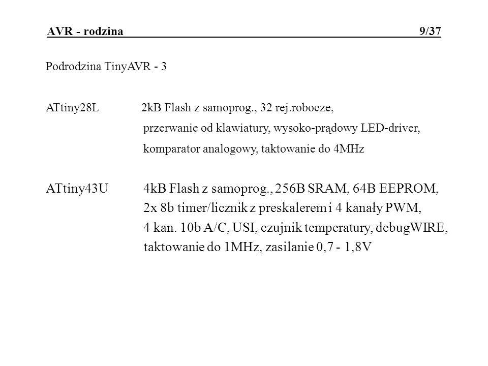 ATtiny43U 4kB Flash z samoprog., 256B SRAM, 64B EEPROM,
