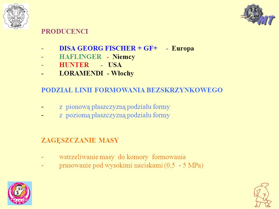 PRODUCENCI - DISA GEORG FISCHER + GF+ - Europa. - HAFLINGER - Niemcy. - HUNTER - USA.