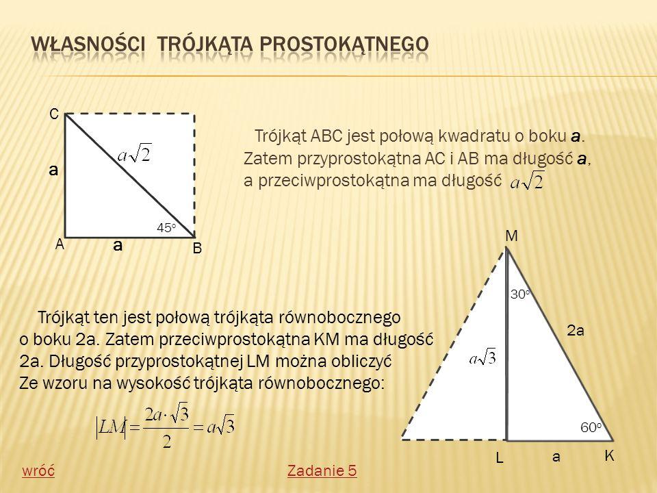 Własności trójkąta prostokątnego