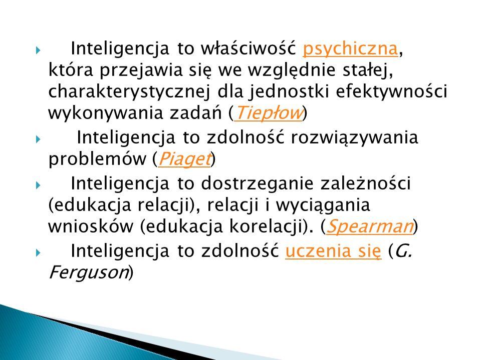 Inteligencja to właściwość psychiczna, która przejawia się we względnie stałej, charakterystycznej dla jednostki efektywności wykonywania zadań (Tiepłow)