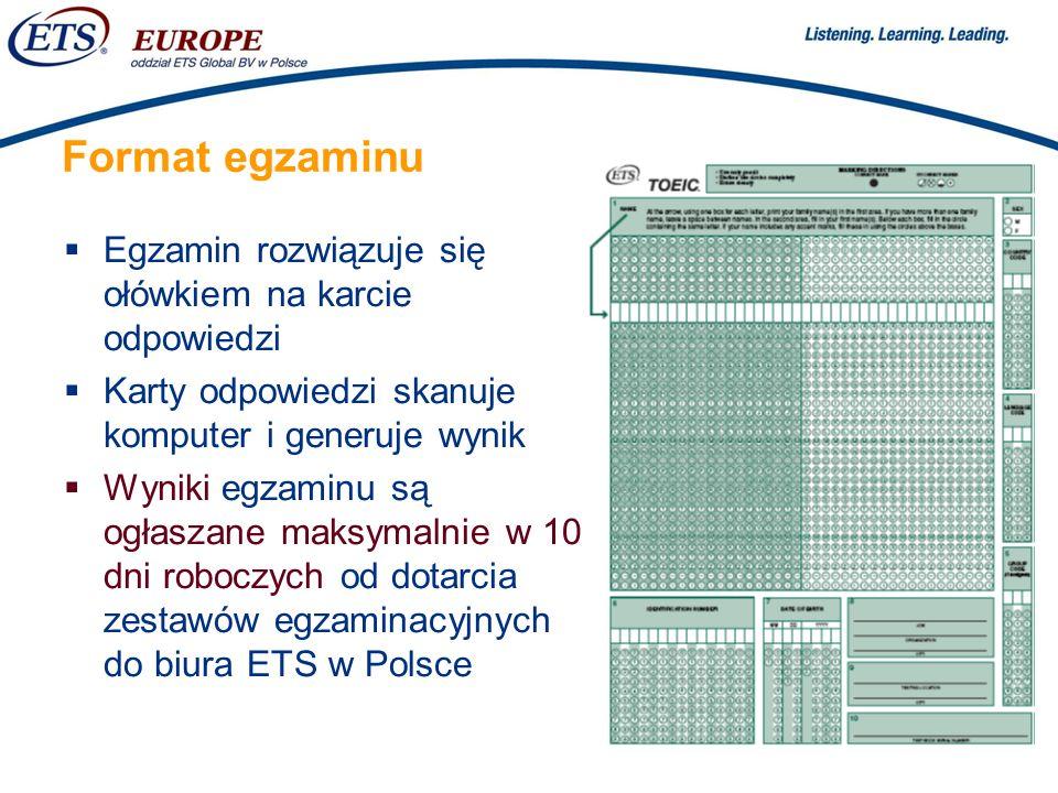 Format egzaminu Egzamin rozwiązuje się ołówkiem na karcie odpowiedzi