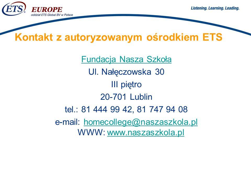 Kontakt z autoryzowanym ośrodkiem ETS