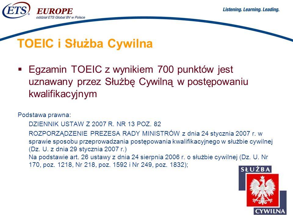 TOEIC i Służba Cywilna Egzamin TOEIC z wynikiem 700 punktów jest uznawany przez Służbę Cywilną w postępowaniu kwalifikacyjnym.