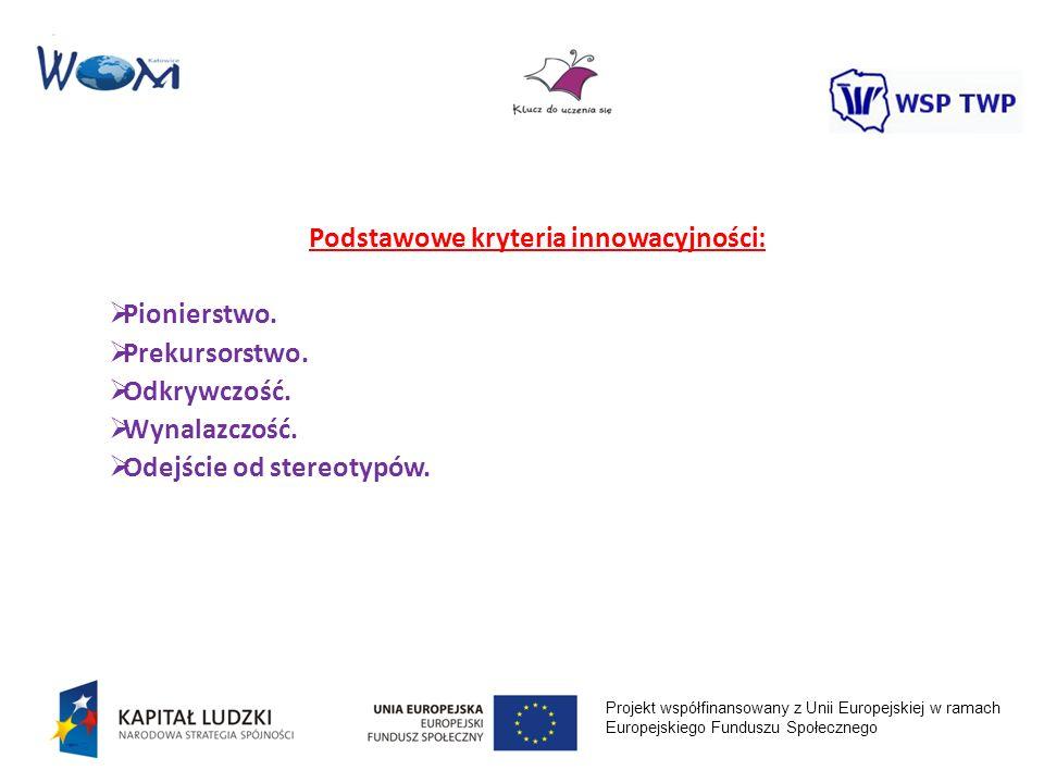 Podstawowe kryteria innowacyjności: