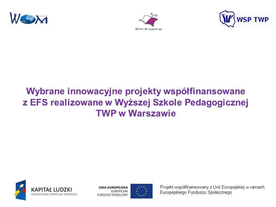 Wybrane innowacyjne projekty współfinansowane z EFS realizowane w Wyższej Szkole Pedagogicznej TWP w Warszawie