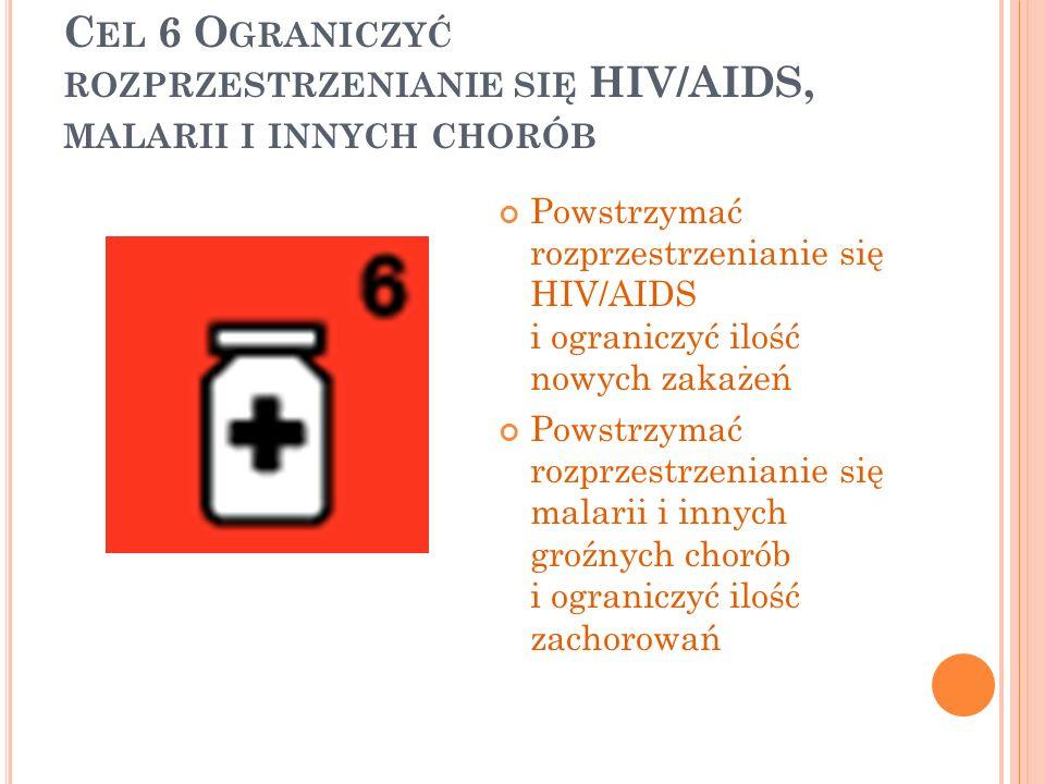 Cel 6 Ograniczyć rozprzestrzenianie się HIV/AIDS, malarii i innych chorób