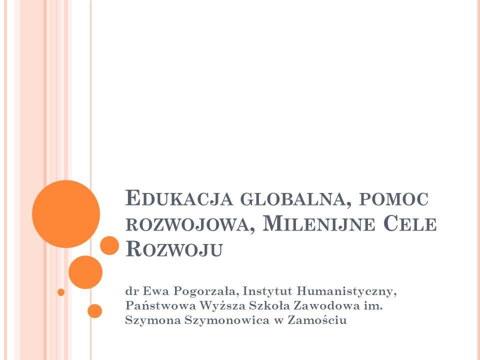 Edukacja globalna, pomoc rozwojowa, Milenijne Cele Rozwoju