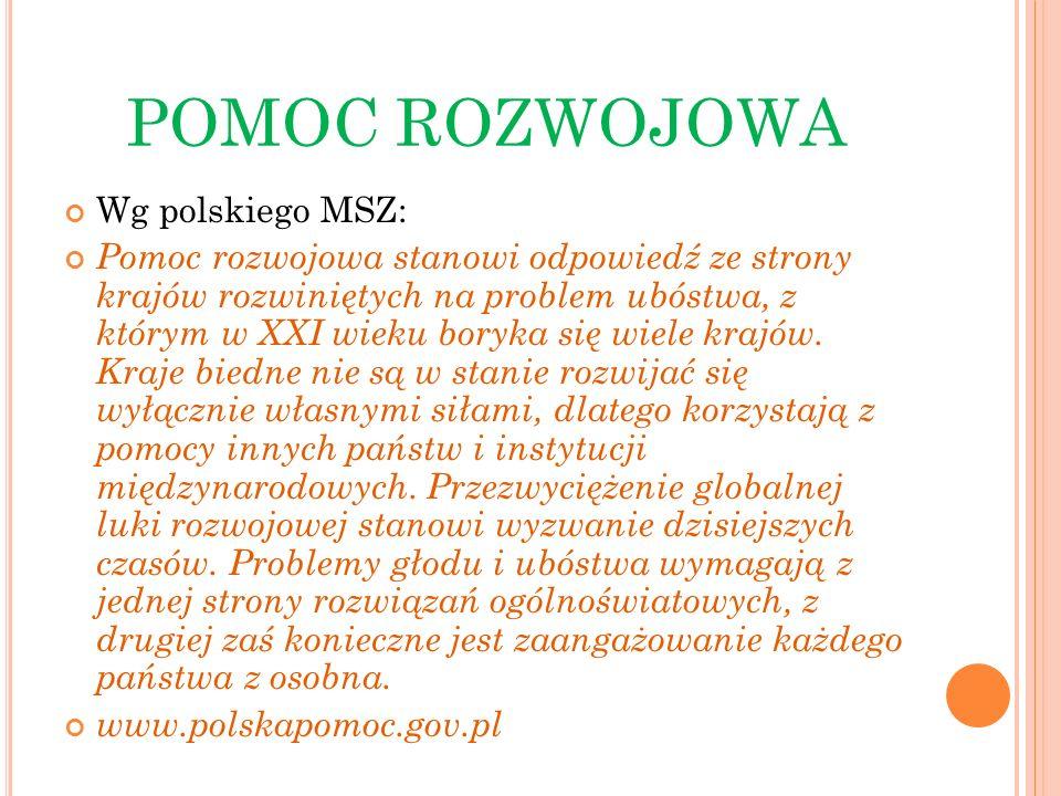 POMOC ROZWOJOWA Wg polskiego MSZ: