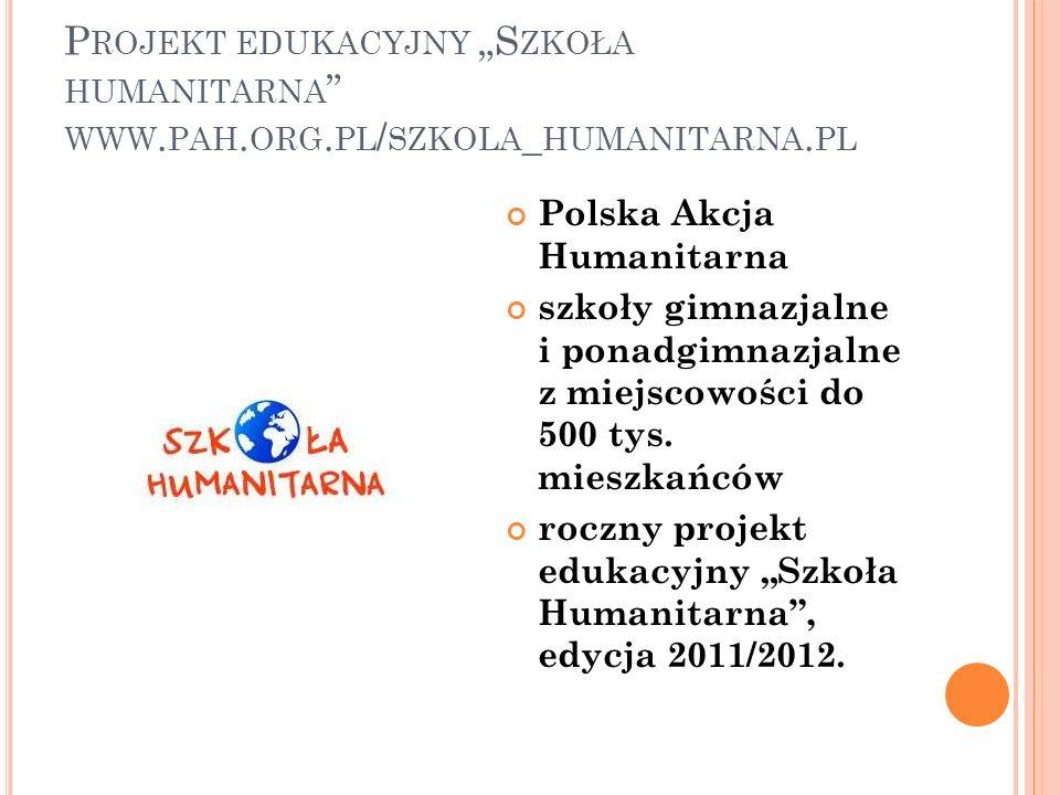 """Projekt edukacyjny """"Szkoła humanitarna www. pah. org"""