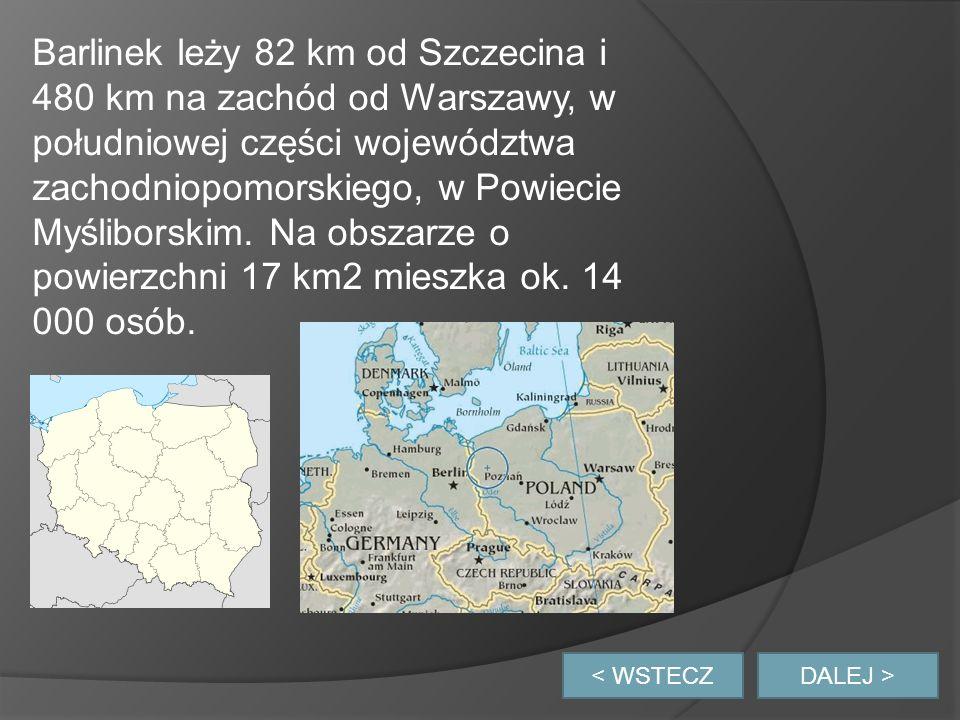 Barlinek leży 82 km od Szczecina i 480 km na zachód od Warszawy, w południowej części województwa zachodniopomorskiego, w Powiecie Myśliborskim. Na obszarze o powierzchni 17 km2 mieszka ok. 14 000 osób.